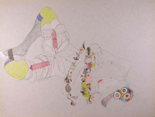 "SIMONE SHUBUCK Reclining (Marni Socks & Necklace) 2005 mixed media on paper 17"" x 22"""