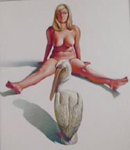 Leta & White Pelican, 1969 oil on canvas 52 x 60 inches