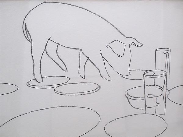 Fiesta Pig, 1979 Graphite on HMP paper 23 7/8 x 31 1/2 inches