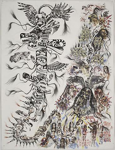 BRAD KAHLHAMER Waqui Totem USA 2006 watercolor  and ink on paper 82 x 62 inches photo courtesy of Deitch Projects