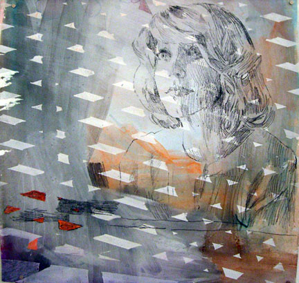 TIM LOKIEC Pittsburgh Woman in a Trance, 2007 Mixed media on paper 19 x 18 ¼ inches Courtesy of the artist and Zach Feuer Gallery