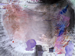 TIM LOKIEC Robitussin Wood-scape 2006 mixed media on paper 38 x 50 inches