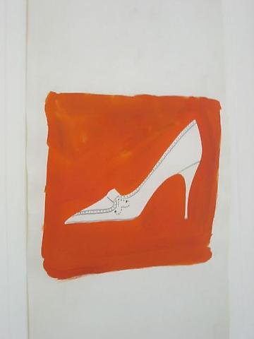 High heel (orange), Graphite, Dr. Martin's Dye on Strathmore paper 23 x 12 1/4 inches