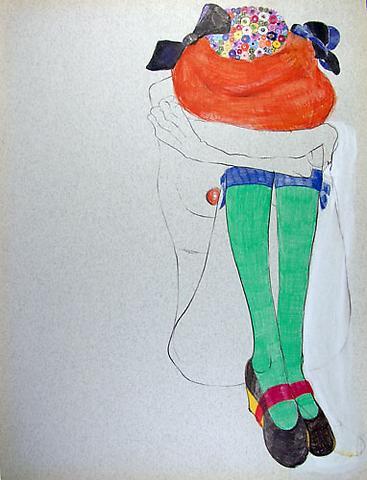 "SIMONE SHUBUCK Bummed (Marni Shoes / Socks) 2005 mixed media on paper 22"" x 17"""