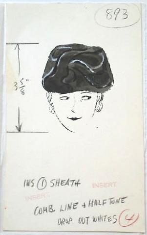Female with Hat, c.1950's Ink on Strathmore paper 11 x 13 1/2 inches