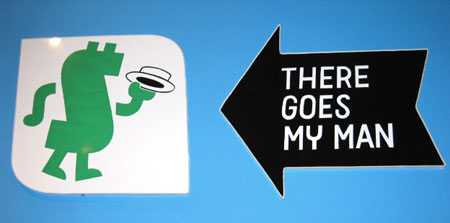 """There Goes My Man"", 2003 Enamel on aluminum. 2 Parts (1) 24-1/2"" x 27-1/2"" / (1) 22"" x 23"""