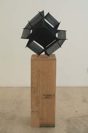 KRYSTEN CUNNINGHAM Black Hypercube, 2007 Acrylic yarn, wood, zip-ties, and spray paint 23 x 23 x 23 (without pedestal)