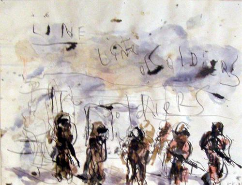 BRAD KAHLHAMER Line of Soldiers 2005 watercolor on paper 8.5 x 11 inches photo courtesy of Deitch Projects
