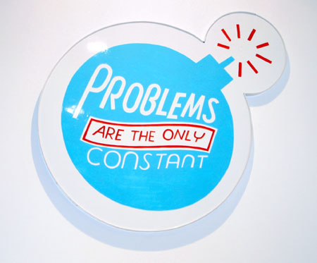 """Problems Are The Only Constant"", 2003 Enamel on aluminum. 29 x 22 inches"