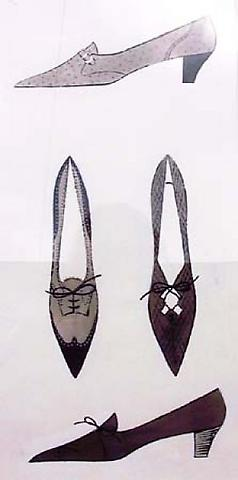 Four Shoes, c.1960 ink, ink wash and tempra on paper 23 x 14 inches