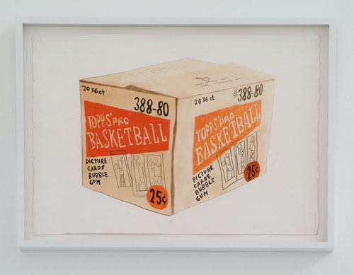 JONAS WOOD Cardboard Box, 2007 Gouache and color pencil on paper 15 x 20 1/2 inches Courtesy of the artist and Anton Kern Gallery