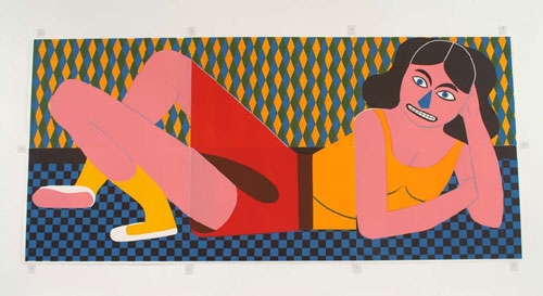 Untitled (Girl) 2006 Edition of 20 Linocut 55 x 118 inches