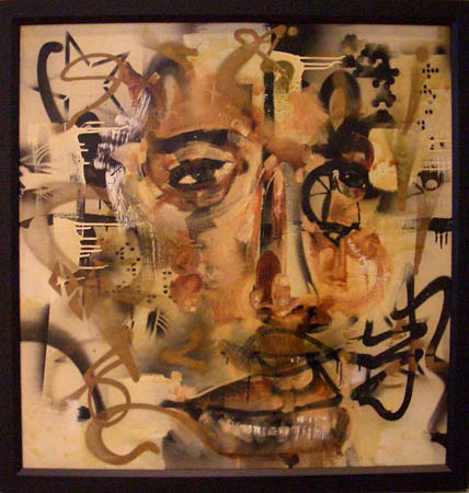 """Hanzo"" 2003 Oil, spray paint, polyurethane, and insects on canvas 39 1/2 x 39 1/2 inches framed"