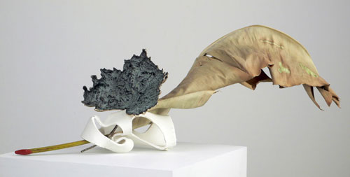"CLAUDE COLLINS-STRACENSKY Untitled (the queens crown crowned) 2006 Porcelain, Bronze, Bird of Paradise leaf, wax 30"" x 10"" x 15"""
