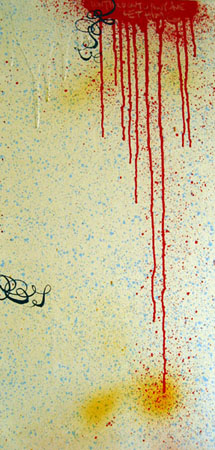 Don't Hold Onto Anyone, 2003 Acrylic and spraypaint on wood 24 x 12 inches