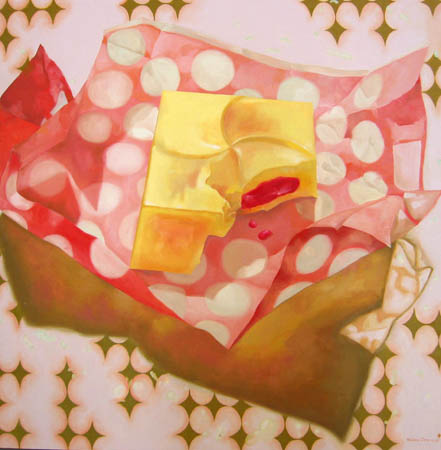 """Strawberry Chocolate"", 2003 Oil and acrylic on wood. 48 x 48 inches"