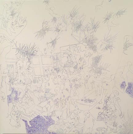 DASHA SHISHKIN Penmanship Exercise I: Artist Studio At 10 On Tuesday, 2007 Ballpoint pen on panel 24 x 24 inches