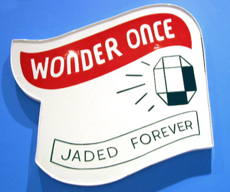 """Wonder Once / Jaded Forever"", 2003 Enamel on aluminum. 20-1/2 x 24 inches"