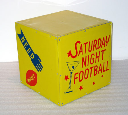 """Saturday Night Football"", 2003 Enamel on aluminum. 12 inch cube"