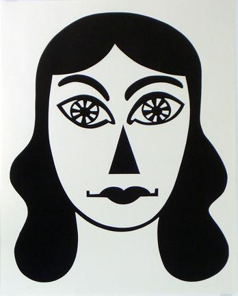 CHRISTOPH RUCKHÄBERLE Untitled (Mask 1) 2006 Edition of 20 Linocut 55 x 39 1/2 inches
