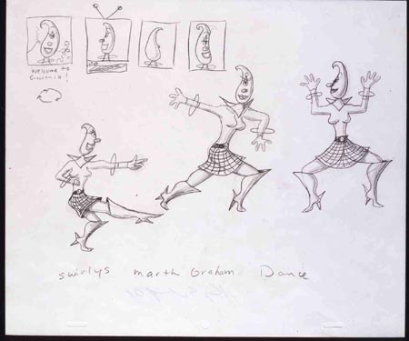 """Swirly's Martha Grahm Dance"", 2000 Pencil on paper 10 1/2 x 12 1/2 inches"