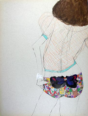 "SIMONE SHUBUCK Untitled (Drawers) 2005 mixed media on paper 22"" x 17"""
