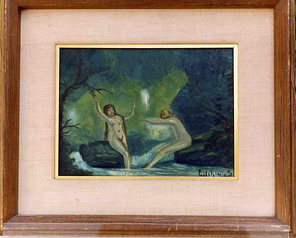Untitled (Two Nude Bathers), oil on board 9 1/2 x 12 inches