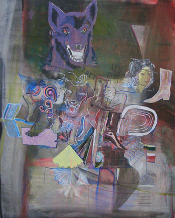 TIM LOKIEC Remote Viewing 2006 mixed media on board 60 x 48 inches