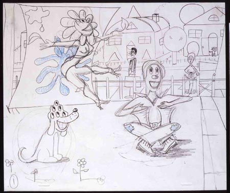"""Glindy's Performance Art"", 2001 Pencil & colored pencil on paper 10 1/2 x 12 1/2 inches"
