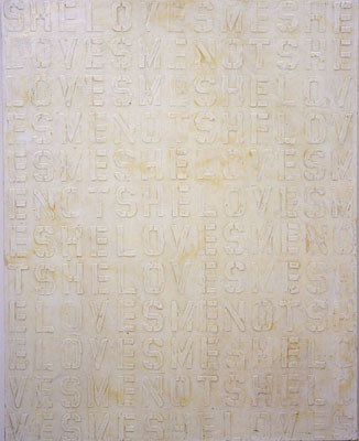 "NINO MIER ""She Loves Me…"" 60 x 48 inches Liquid latex and enamel on canvas 2004"