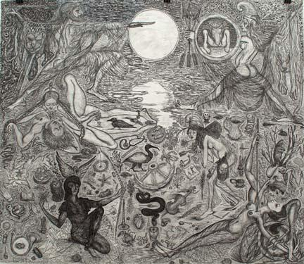 "CHRIS HAMMERLEIN The Battle of Amazons and Greeks 2006 ink and graphite on paper 72"" x 84"""