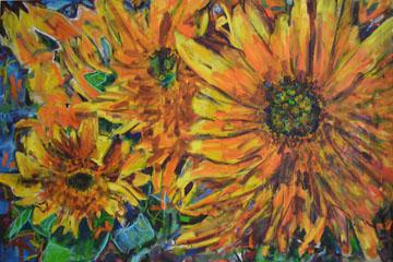 """Sunflowers"" 48 x 72 inches 2004"