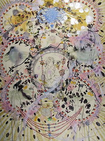 "SIMONE SHUBUCK MARI Imperial 2005 mixed media on paper 30"" x 22"""