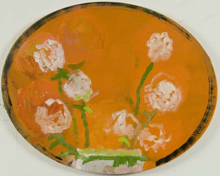 "DANA FRANKFORT WHITE FLOWERS 2006 Oval canvas 16""x20"""