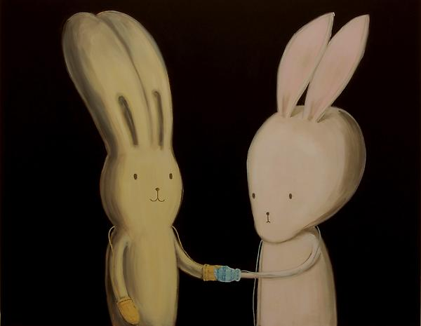Nice to meet you (Usacchi meets BB [Brainy Bunny] for the first time Oil on linen 120 x 150 cm 2008