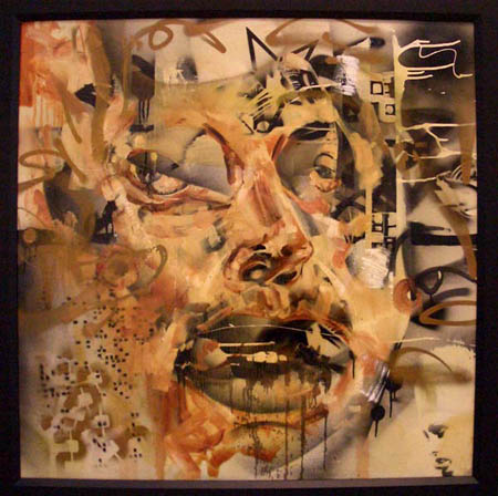 """Samson"" 2003 Oil, spray paint, polyurethane, and insects on canvas 39 1/2 x 39 1/2 inches framed"