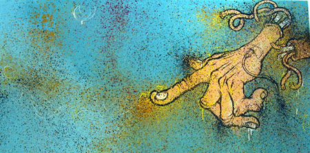 Untitled (Blue), 2003 Acrylic and spraypaint on canvas 24 x 48 inches
