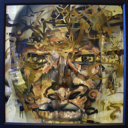 """Chauncey"" 2003 Oil, spray paint, polyurethane, and insects on canvas 39 1/2 x 39 1/2 inches framed"