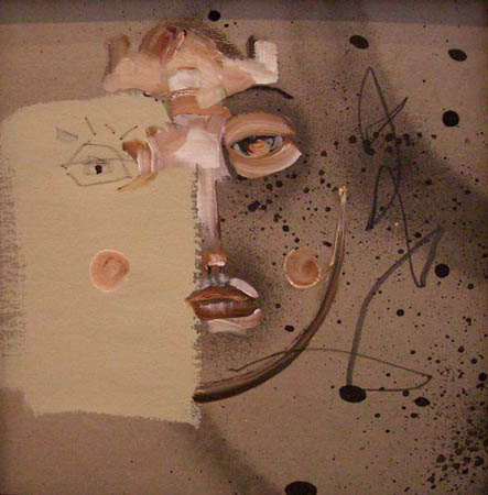 """Untitled"" 2003 Oil and spray paint on cardboard 11 3/4 x 11 /34 inches"