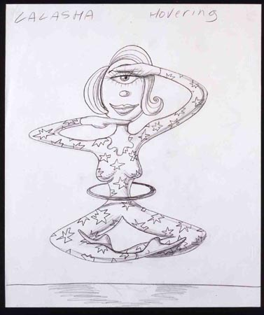 """Lalasha Hovering"", 2001 Pencil on paper 12 1/2 x 10 1/2 inches"