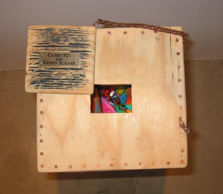"""Closet #20"", 2003 Plywood, acrylic, adhesive, found objects, blacklight, copper nails, etc..."