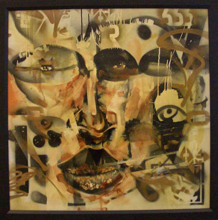 """Chalsoo"" 2003 Oil, spray paint, polyurethane, and insects on canvas 39 1/2 x 39 1/2 inches framed"