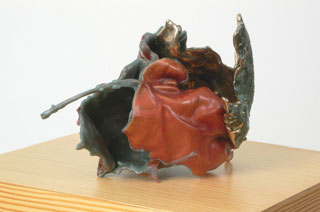 "CLAUDE COLLINS-STRACENSKY Untitled (The venture in the garden) 2006 Leaves, Was, Bronze, Pine base 8"" x 5"" x 6"", with base 10"" x 10"" x 60"""