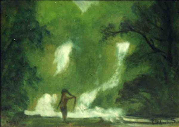 Untitled (Nude with Waterfall), 1921 oil on board 10 5/8 x 14 1/4 inches