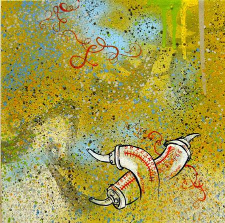 Syringes, 2003 Acrylic and spraypaint on canvas 12 x 12 inches