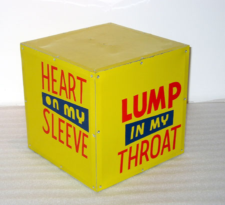 """Daily Medic/Tation"", 2003 Enamel on aluminum. 12 inch cube, motor Private Collection"