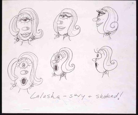 """Lalasha Sexy & Shocked"", 2000 Pencil on paper 10 1/2 x 12 1/2 inches"