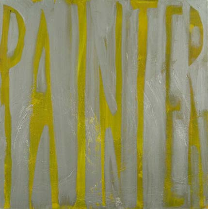 "DANA FRANKFORT PAINTER (silver and yellow) 2006 Oil on canvas 18""x18"""