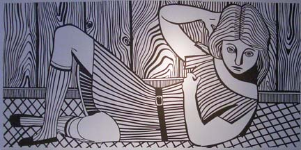 CHRISTOPH RUCKHÄBERLE Untitled (Woman 4) 2006 Edition of 20 Linocut 40 x 79 inches