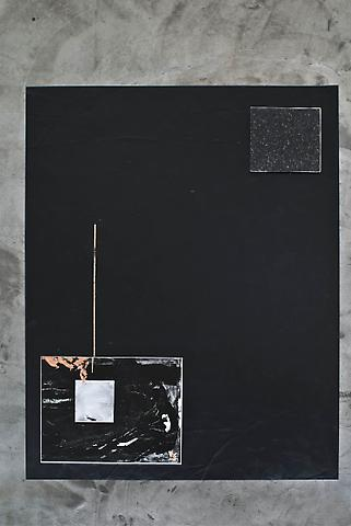 Amir Mogharabi Untitled (For Josef Strau), 2010 Acrylic and copper leaf on floor 58.5 x 79 inches Oil based enamel, copper leaf on panel 20 x 24 inches Oil based enamel on granite 12 x 12 inches